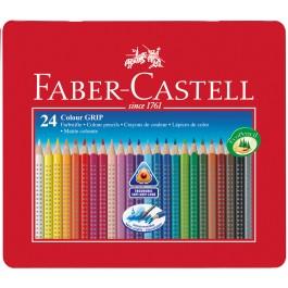 Spalvoti akvareliniai pieštukai Faber-Castell GRIP 2001, tribriauniai, 24 spalvų, metalinėje dežutėje (P)