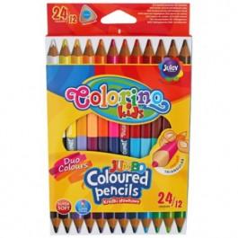 Spalvoti pieštukai Colorino Kids JUMBO, trikampiai, dvipusiai 12=24 spalvų