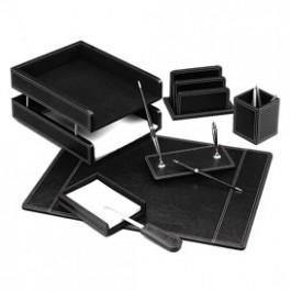 Darbo stalo rinkinys Forpus, 7 dalių, juodos spalvos