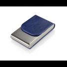 Dėklas vizitinėms kortelėms, 101x61x19mm, dirbtinės odos, vertikalus, mėlynos spalvos