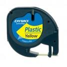 Etikečių juostelė DYMO LETRATAG, plastikinė, 12 mm x 4 m, geltonos spalvos (P)
