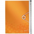 Aplankas dokumentams LeItz Wow, A4, su gumele, plastikinis, oranžinės spalvos