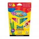 **Flomasteriai Colorino Kids 2in1, dvipusiai, tribriauniai, 12 spalvų