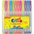 Gelinių rašiklių rinkinys deVENTE fluo, 12 spalvų