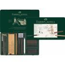 Rinkinys Faber-Castell Pitt Charcoal Monochrome, skirtas eskizavimui, 33vnt