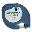 Etikečių juostelė Dymo LetraTag 12mm x4m , plastikinė, sidabrinės spalvos (P)