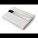 **Dėklas vizitinėms kortelėms, 80x111x20mm, dirbtinės odos, baltos spalvos