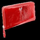 Moteriška piniginė, 19x10cm, natūralios odos, raudonos spalvos su Swarovski kristalais