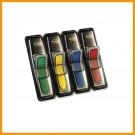 Žymekliai POST- IT, plastikiniai, Strėlytės su dėkliuku, 4 spalvos po 24 vnt.
