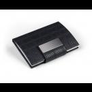 Dėklas vizitinėms kortelėms, 75x97x16mm, dirbtinės odos, juodos spalvos