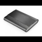 Dėklas vizitinėms kortelėms, 66x94x14mm, dirbtinės odos, juodos spalvos