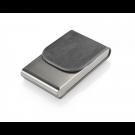 Vizitinių kortelių dėklas, 101x61x19mm, dirbtinės odos, vertikalus, pilkos spalvos