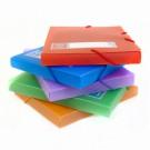 Dėklas dokumentams College CRYSTAL, A4, 30mm, su gumelėmis, plastikinis, įvairių spalvų