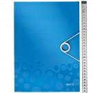 Aplankas dokumentams LeItz Wow, A4, su gumele, plastikinis, mėlynos spalvos