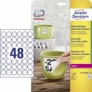 Apvalios lipnios etiketės Avery Zweckform, A4, atsparios drėgmei, 30mm, 48 etiketės lape, 20 lapų, baltos spalvos