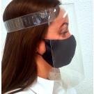 Apsauginis veido skydelis, 400 mikronų plastikas, su reguliuojama užsegimo juostele