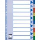 Skiriamieji lapai Esselte, A4, 1-10, plastikiniai, įv. Spalvų