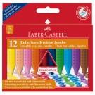 Plastikinės kreidelės Faber-Castell GRIP Jumbo,12 spalvų, tribriaunės