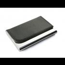 Dėklas vizitinėms kortelėms, 63x93x14mm, dirbtinės odos, juodos spalvos