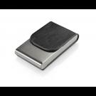 Dėklas vizitinėms kortelėms, 101x61x19mm, dirbtinės odos, vertikalus, juodos spalvos