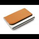 Dėklas vizitinėms kortelėms, 63x93x14mm, dirbtinės odos, oranžinės spalvos