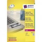 Lipnios etiketės Avery Zweckform, A4, atsparios drėgmei, 63.5x29.6mm, 27 etiketės lape, 20 lapų, sidabrinės spalvos