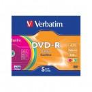 Vienkartinio įrašymo diskas Verbatim DVD-R. 4.7GB. 16x. AZO. spalvoti. 5 vnt.